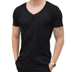 Basic T-shirt – Deep V-Neck Sort