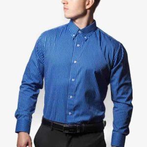 Blå og hvid stribet skjorte 002