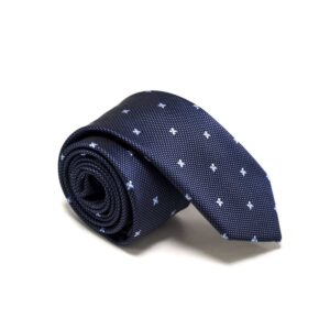 blåt slips med små stjerne prikker