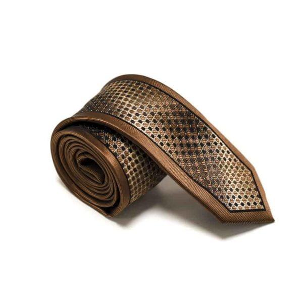 Kastanje brun slips med detaljer og silkekant3