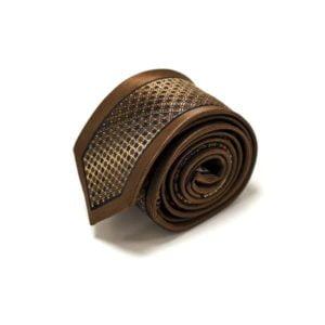 Kastanje brun slips med detaljer og silkekant