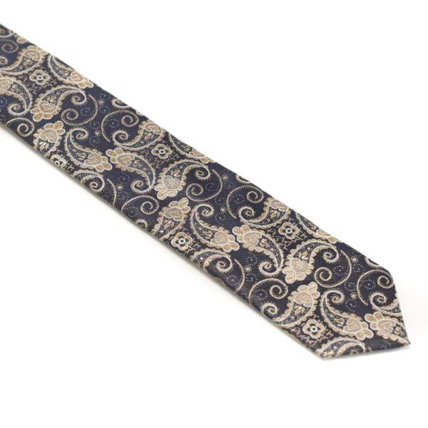 Detaljefyldt-slips-brun-med-motiv2