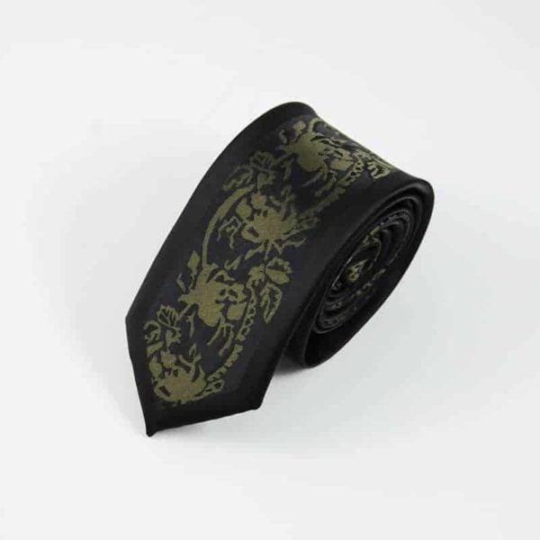 Detaljefyldt slips sort og guld