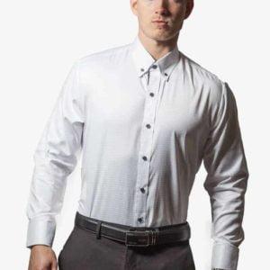 Hvid silke og bomulds skjorte 001