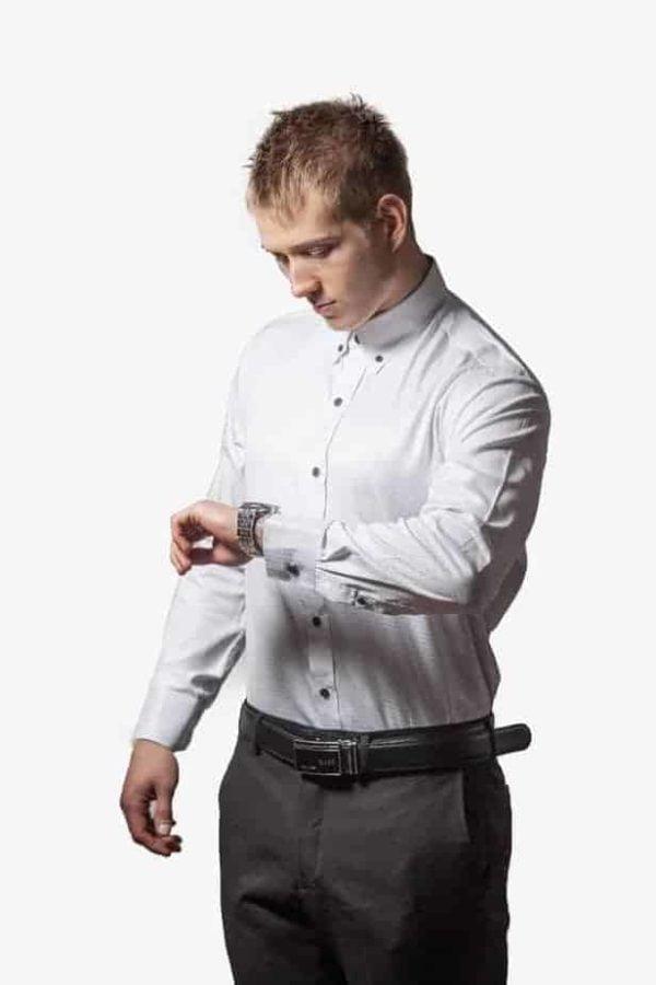 Hvid Silke Og Bomulds Skjorte 003