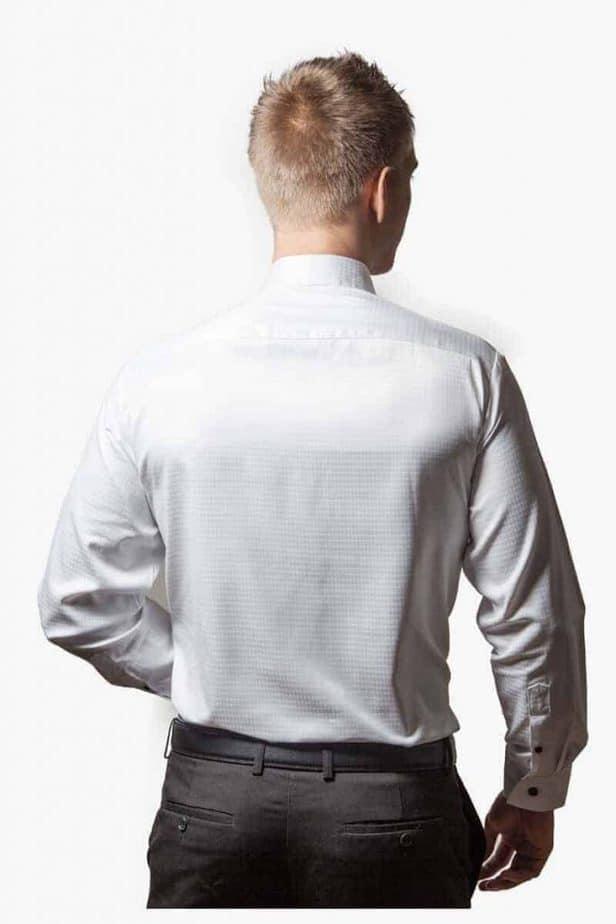 Hvid Silke Og Bomulds Skjorte 004