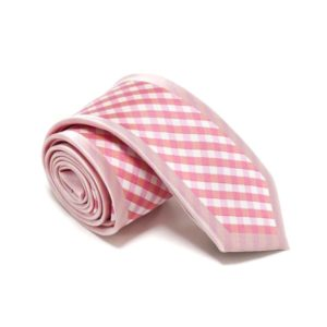 Lyserød Slips Med Pink Ternet Midte3