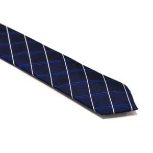marineblå slips med tværgående striber