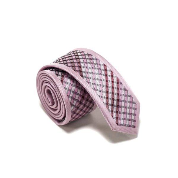 moderne lyserødt skotsk ternet slips