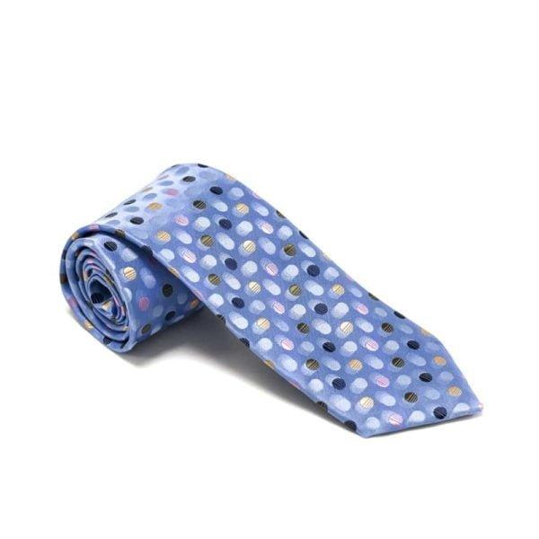 prikket lyseblåt slips med prikker i forskellige farver