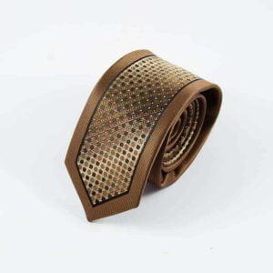 Prikket slips brunt og guld