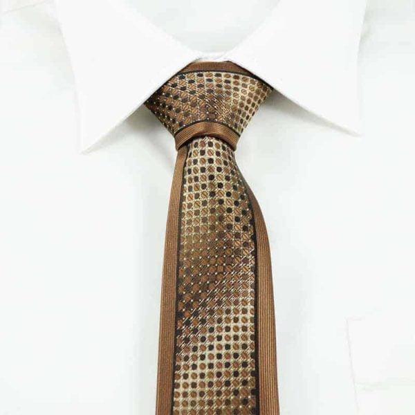 Prikket slips guld og brunt