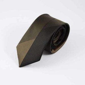 Prikket slips guld og sort