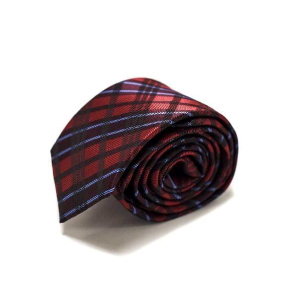 Rødt Slips Med Skotske Tern4