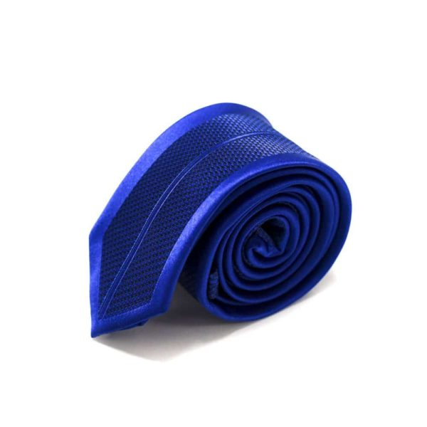 royal blå slips med symetrisk struktur