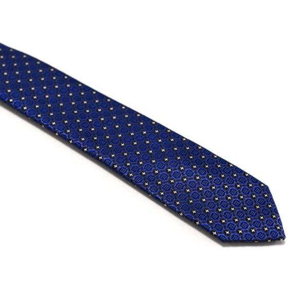 Royalblå Slips Med Struktur Og Små Stjerne Prikker1