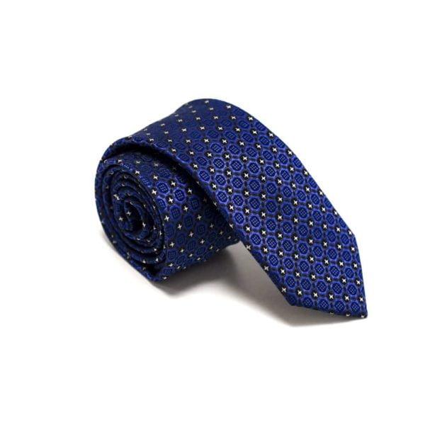 Royalblå Slips Med Struktur Og Små Stjerne Prikker3