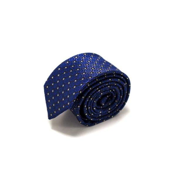 Royalblå Slips Med Struktur Og Små Stjerne Prikker4