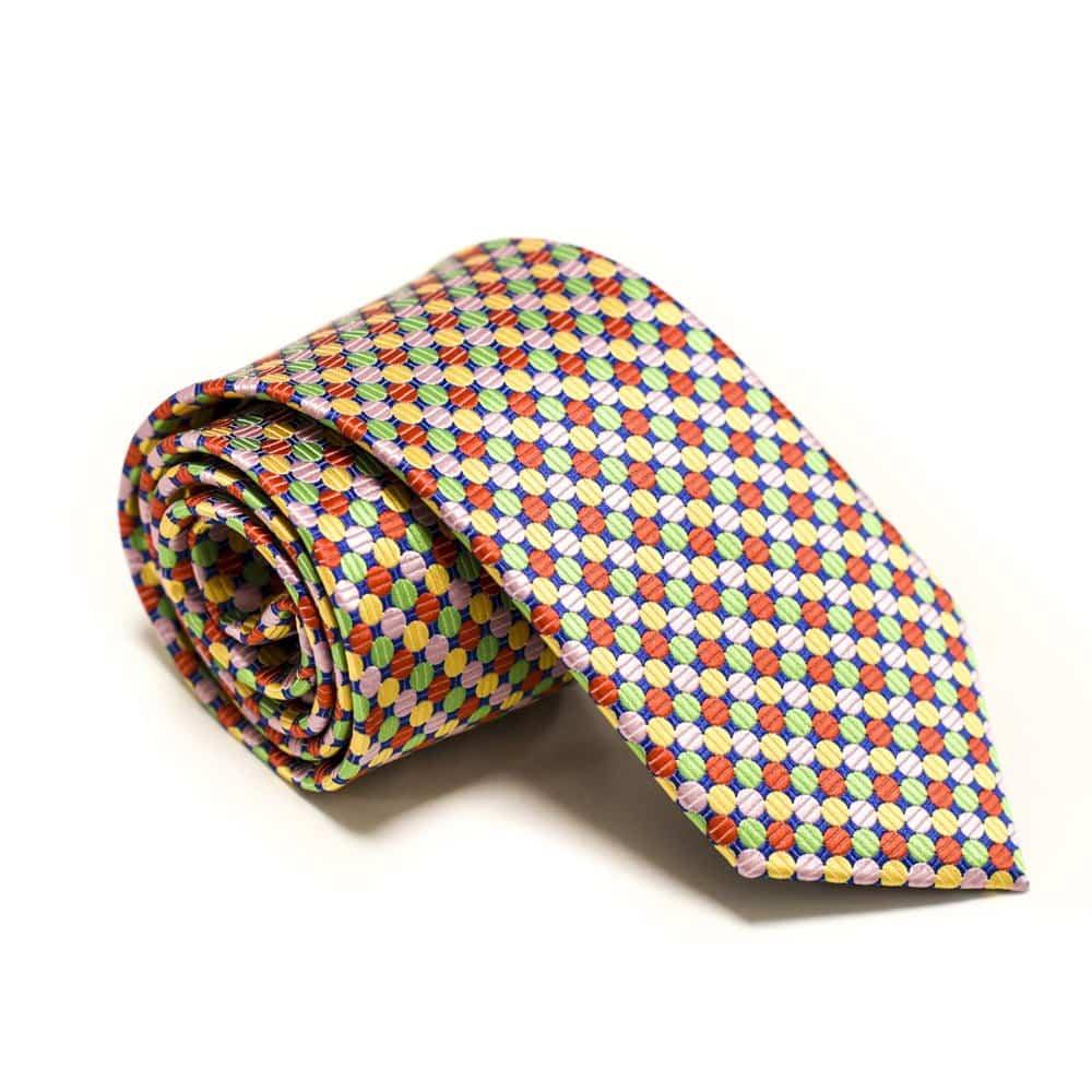 Mønstret slips m. klud - multifarvet