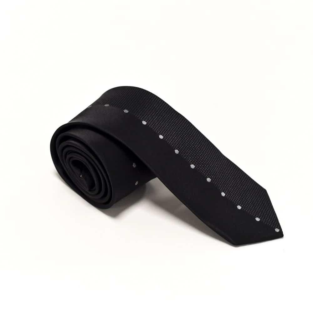 Sort sølvprikket slips