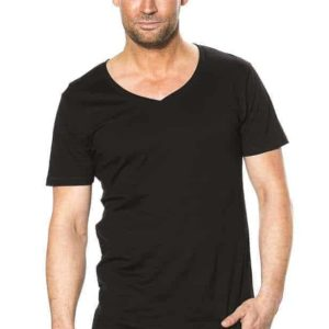 T-shirt - Deep V-neck i sort design