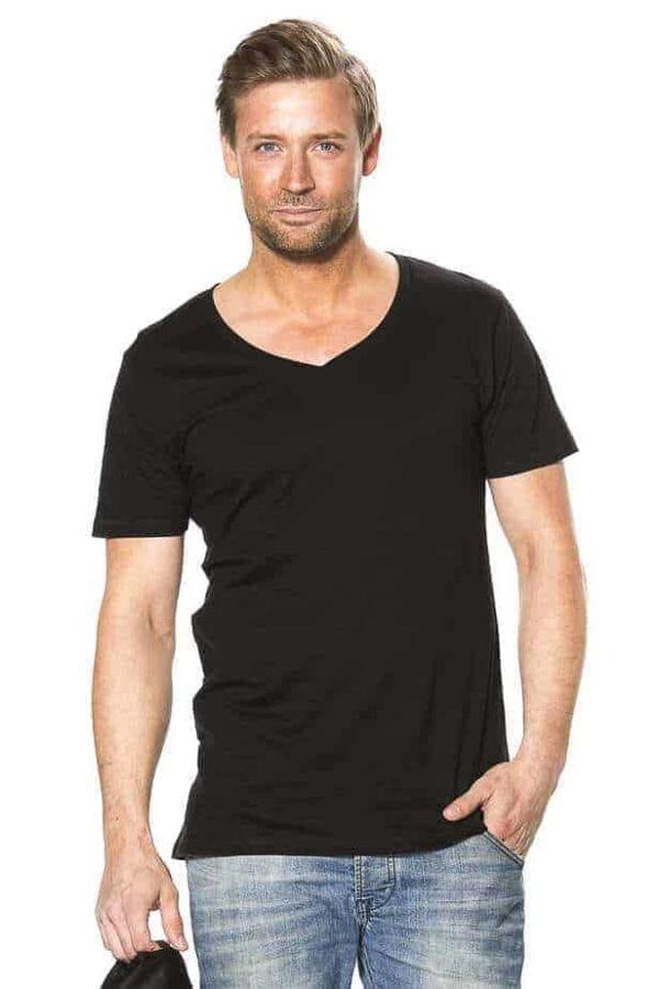 T-shirt - Deep V-neck i sort design