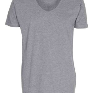 T-shirt-deep-v-neck-oxford-grå