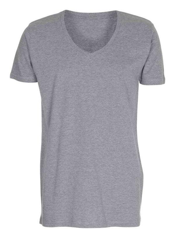 T-shirt-deep-v-neck-oxford-grå