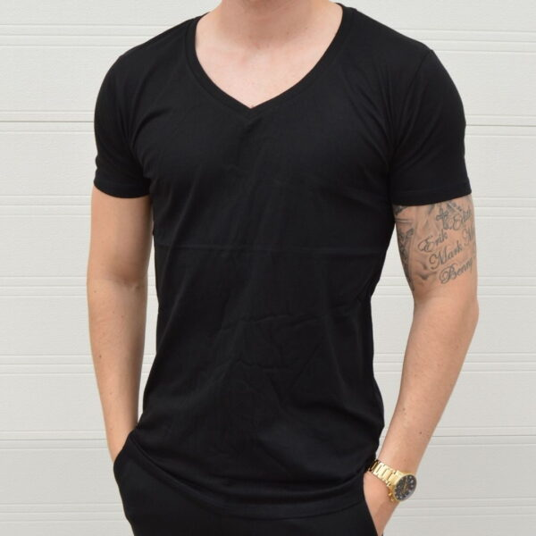 Basic T Shirt Deep V Neck Sort