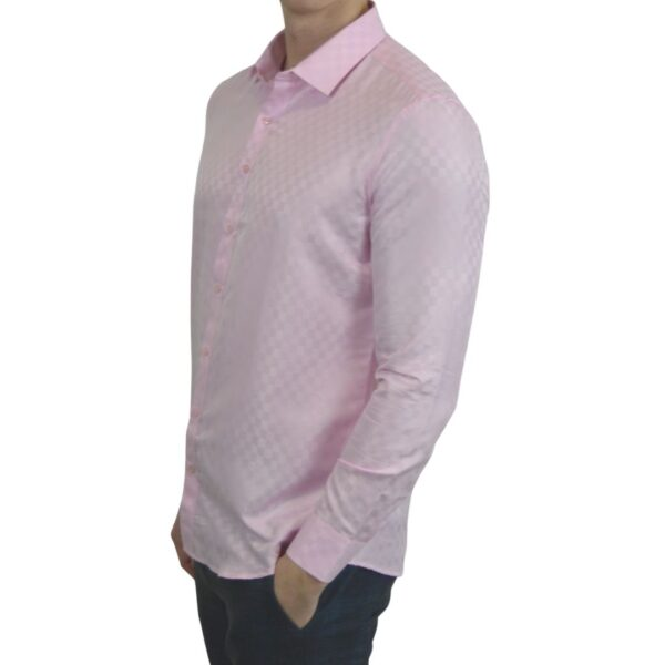 Lyseroed-skjorte-med-tern-modern