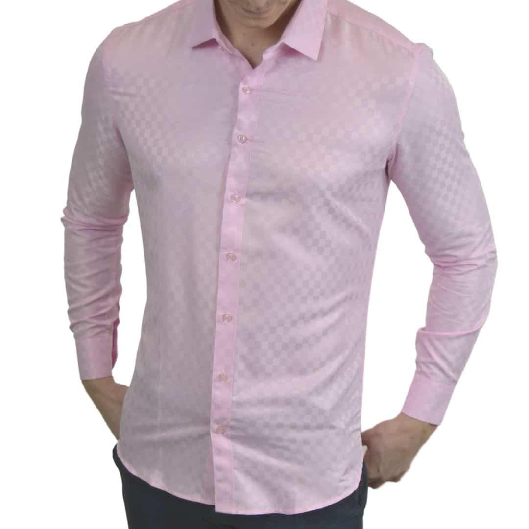 Signature - Lyserød skjorte med tern