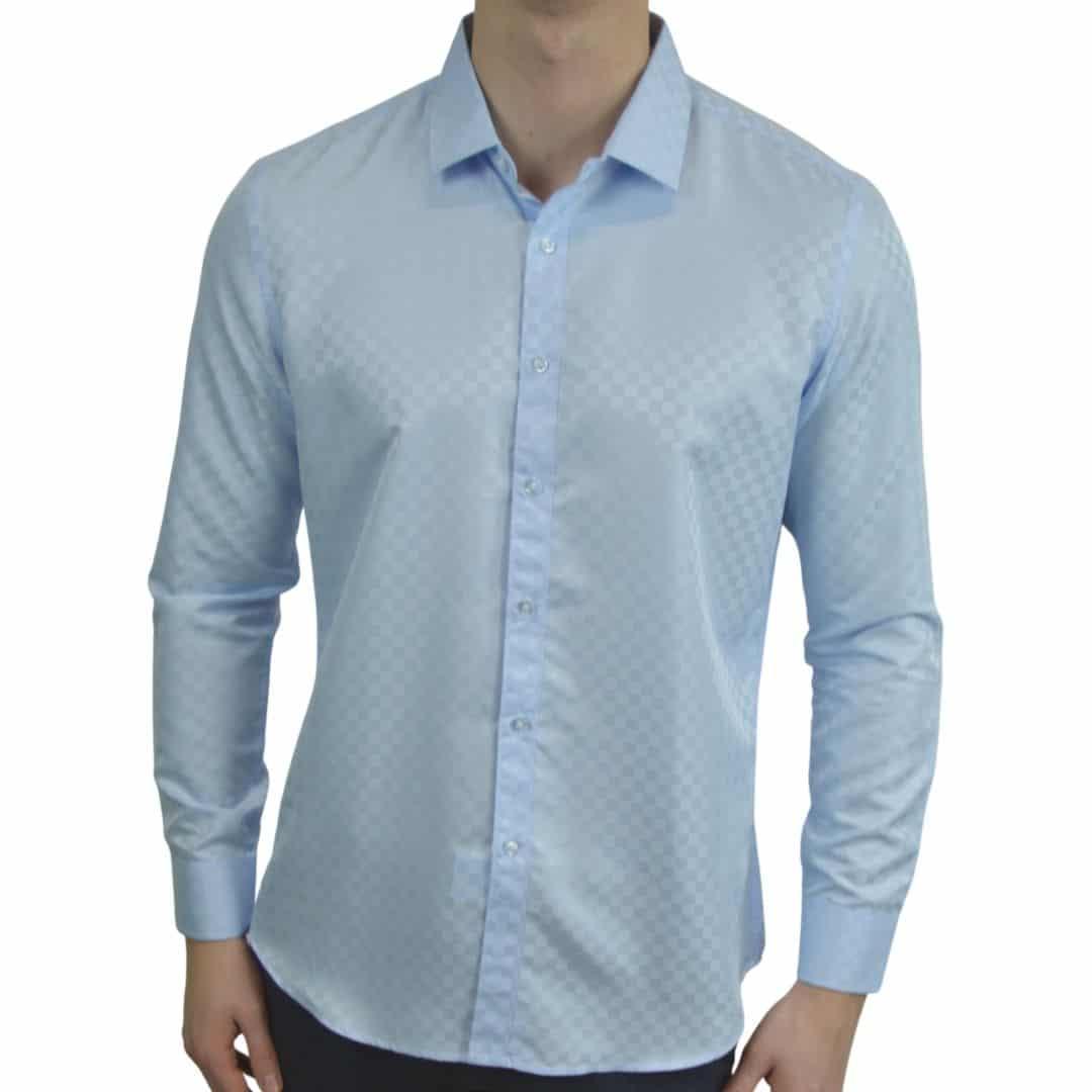 Signature - Blå skjorte med tern