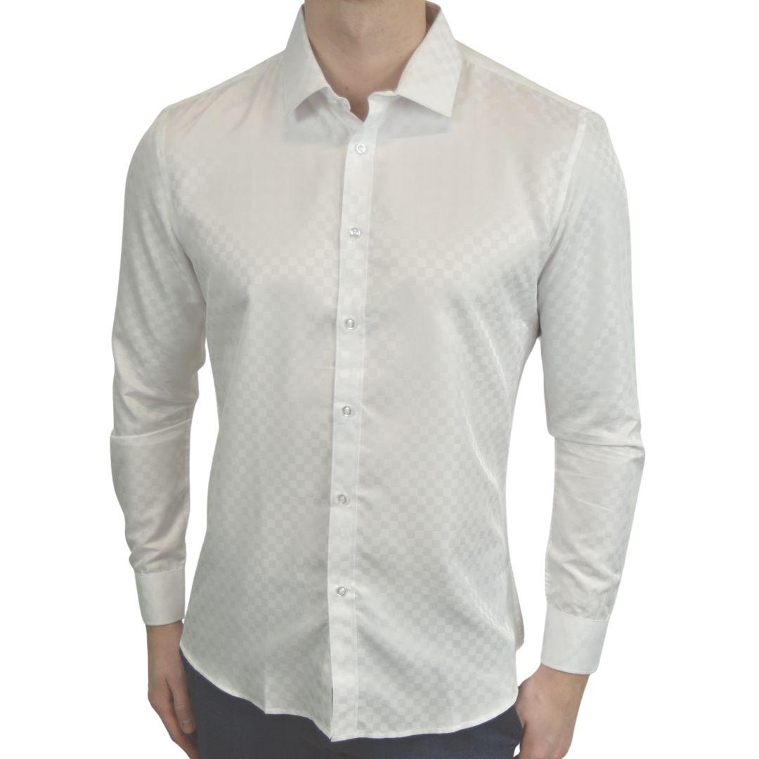 Signature - Hvid skjorte med tern