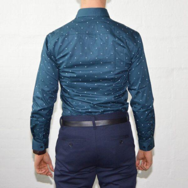 Soe Blaa Skjorte Med Polka Prikker Moderne