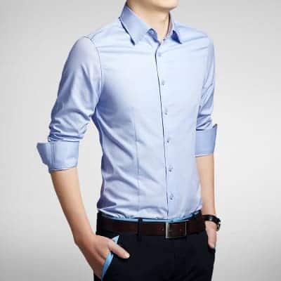 Blå Smoking Skjorte