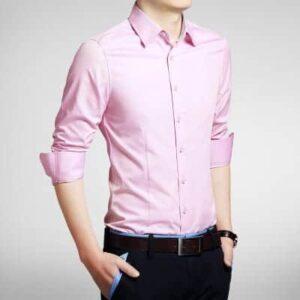 Lyserød Smoking Skjorte