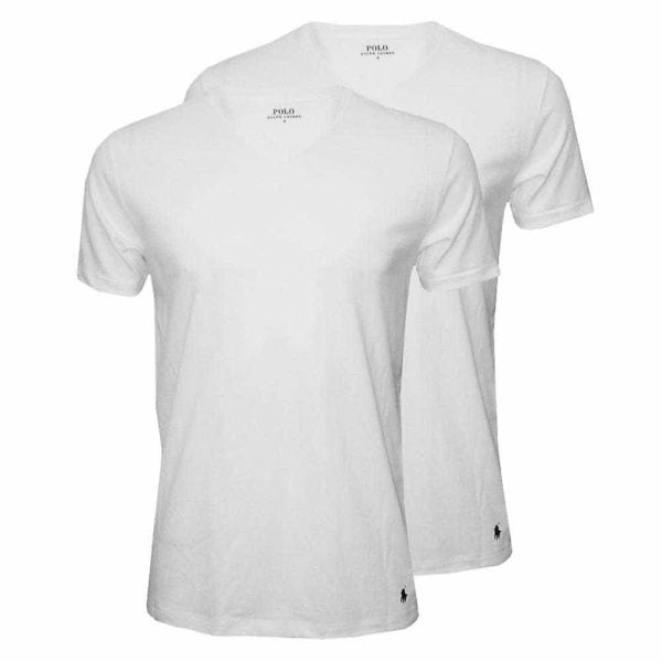 Ralph Lauren Classic V-Neck T-Shirts 2 Pack i hvid