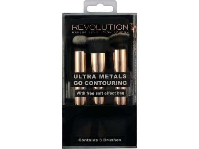 Image of   Makeup Revolution Ultra Metals Go Conturing 3 Brushes With Free Soft Effect Bag