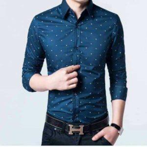 sø blå skjorte med polka prikker medium skjorte