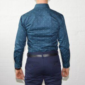 Soe Blaa Skjorte Med Polka Prikker Medium Moenster