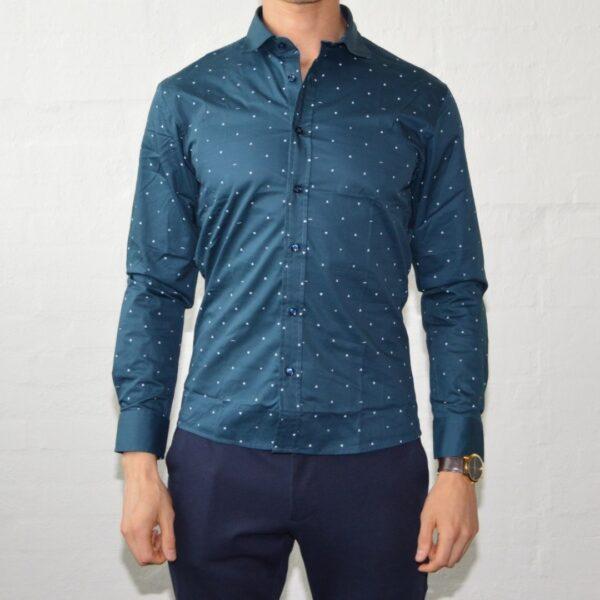 Soe Blaa Skjorte Med Polka Prikker Medium Prikket