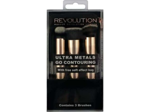 Makeup Revolution Ultra Metals Go Conturing 3 Brushes With Free Soft Effect Bag 1